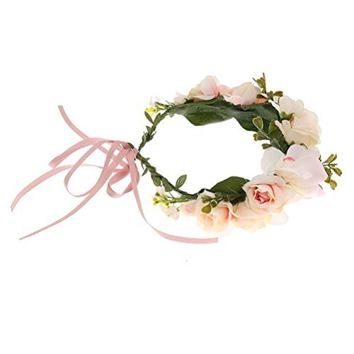 Flower Head Wreath - EBTOYS Flower Crown Flower Wreath Floral Headband for Festival Wedding Party Favors (Light Pink)