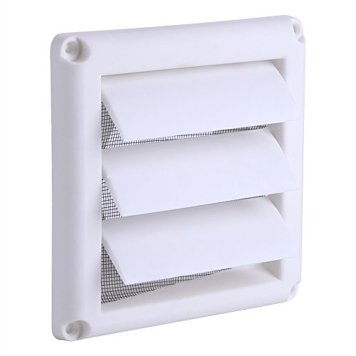5.91 x 5.91 inch Plastic Air Vent Grille Cover 3 Flaps Wall Duct Ventilation Grill Louvered Vent Cover With Net Plastic Louvre Air Vent Grille with Flyscreen Cover(1515CM)