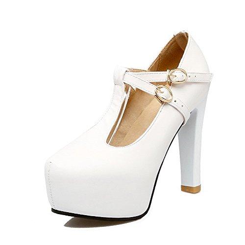Kvinners Spenne sko Hvit Høye Solide Runde Hæler Pumper Tå Pu Voguezone009 dwq1xEHCd