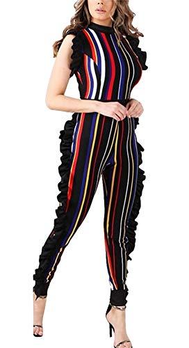 - Molisry Women Sexy Ruffle Short Sleeve Stripe Print Skinny Long Pants Jumpsuits Rompers with Belt