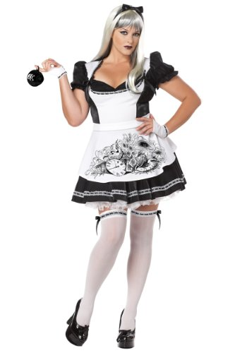 California Costumes Women's Plus-Size Dark Alice Plus, Black/White, -