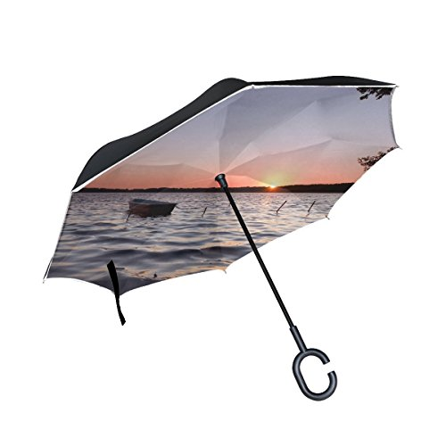 RH Studio Inverted Umbrella Boat Decline Lonely Lake Large Double Layer Outdoor Rain Sun Car Reversible Umbrella by RH Studio