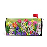 WOOR Spring Flowers Daffodils and Tulips Magnetic Mailbox Cover Happy Mother's Day Garden Yard Home Decor for Outdoor Standard Size-18
