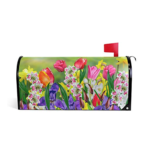 WOOR Spring Flowers Daffodils and Tulips Magnetic Mailbox Cover Oversized-20.8