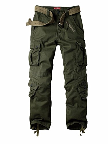 AUSZOSLT Authentics Men's Classic Twill Relaxed Fit Cargo Pant Army 40