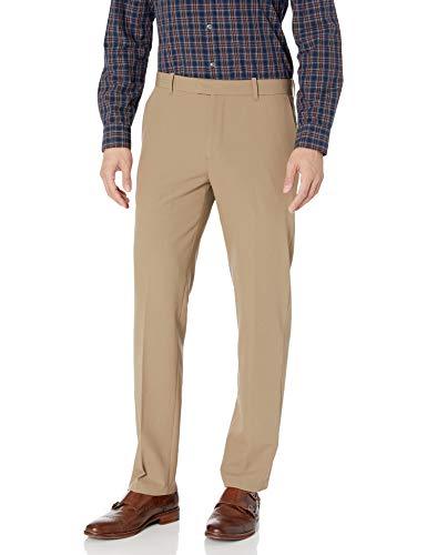 Van Heusen Men's Flex Straight Fit Flat Front Pant, Khaki, 34W x 29L