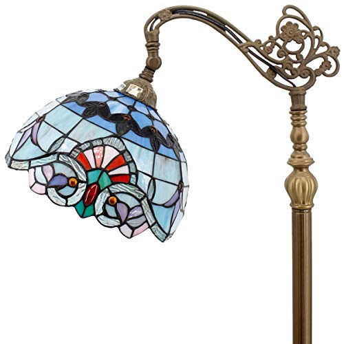 Tiffany Style Reading Floor Lamp Stained Glass Pink Blue Baroque Lampshade in 64 Inch Tall Antique Arched Base for Girlfriend Bedroom Living Room Lighting Table Set S003P WERFACTORY ()