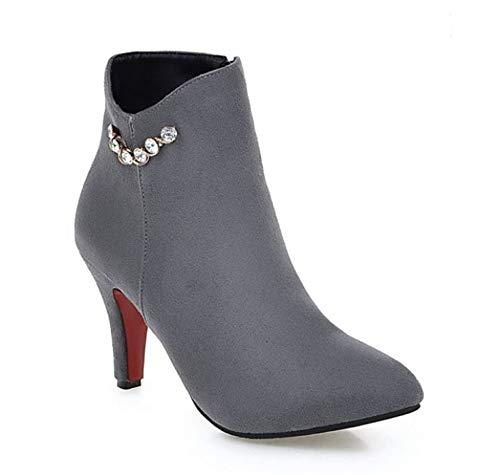 edv0d2v266 Pointed Toe Ankle Boots Stiletto High Heels Party Wedding Pumps Dress Shoes for Women (Grey 38/7 B(M) US Women)