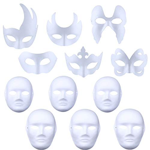 Outgeek Blank Painting Mask Cute Halloween Mask Kids Half Face Mask DIY Assorted Types Party Mask for Kids 12PCS -