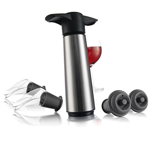 The Original Vacu Vin Wine Saver with 2 Vacuum Stoppers and 2 Wine Servers - Stainless Steel by Vacu Vin