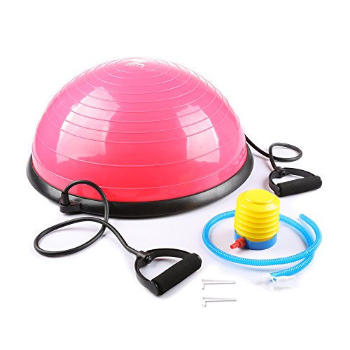 Z ZELUS 23 Inch Large Yoga Balance Ball Trainer with Resistance Bands & Foot Pump for Yoga Fitness Strength Exercise Workout (Pink)