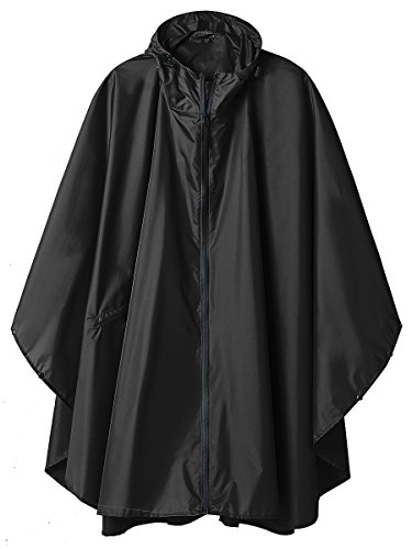 (SaphiRose Rain Poncho Jacket Coat for Adults Ponchos Rain Hooded Waterproof with Zipper Outdoor (Black) )