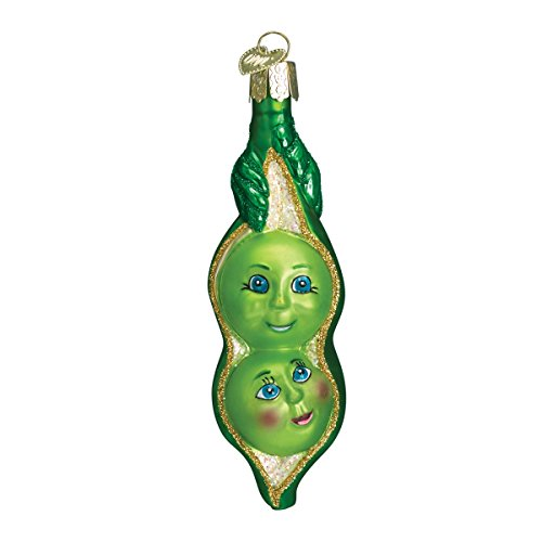 Old World Christmas Glass Blown Ornament with S-Hook and Gift Box, Food Collection (Two Peas in a Pod)