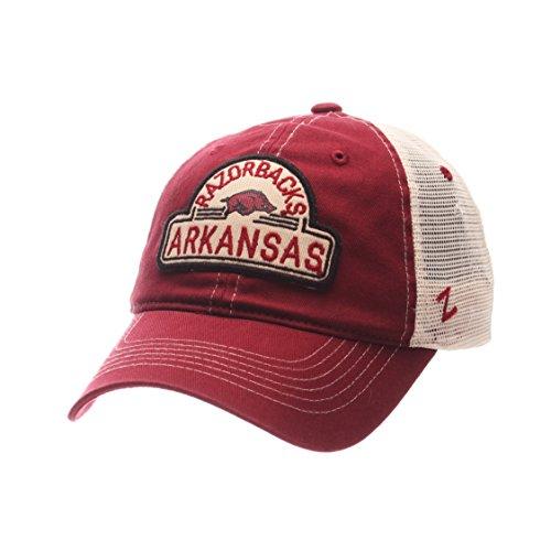 Arkansas Razorbacks Zephyr Red & White Route Style Mesh Back Slouch Adj. Hat Cap (Arkansas Mesh White Razorbacks)