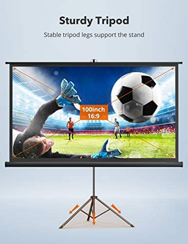 """TaoTronics Projector Screen with Stand,Indoor Outdoor PVC Projection Screen 4K HD 100"""" 16: 9 Wrinkle-Free Design(Easy to Clean, 1.1Gain, 160° Viewing Angle & Includes a Carry Bag) for Movie, Meeting"""