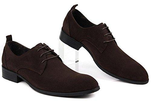 Hombres Negocio Fregar Cuero Con cordones Zapatos Plano Primavera Vestir marrón Negro Puntiagudo Soltero Casual Oxfords tamaño 38-44 Coffee