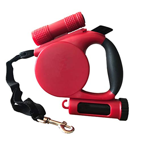 (Pet Automatic Telescopic Traction Rope, ABS Dog Supplies LED Reflective Tractor, Red, 5M, Storage Bucket and Hook Design)