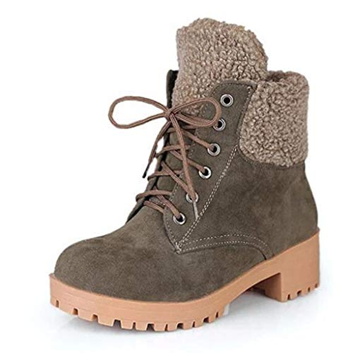 Respctful✿ Winter Boots for Women lace up Plush Boots Comfortable Closed Pointed Toe Snow Ankle Booties