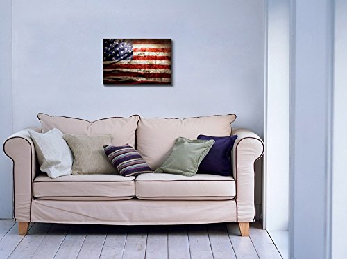 Closeup of Grunge American Flag Vintage Retro Style Patriotic Concept Wall Decor