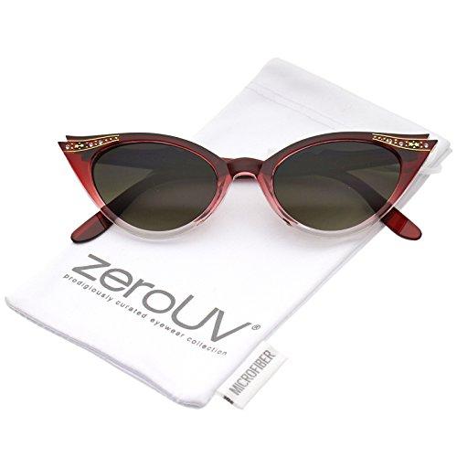 zeroUV - Women's Retro Rhinestone Embellished Oval Lens Cat Eye Sunglasses 51mm (Red Fade / - Eye Rhinestones Sunglasses Cat With