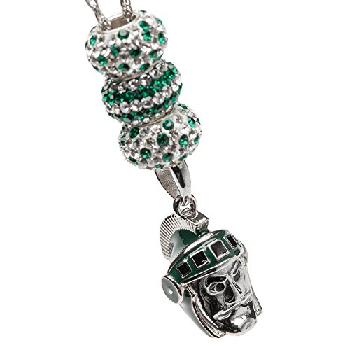 (Michigan State Necklace | MSU Sparty Necklace with 3 Crystal Bead Charms | Officially Licensed Michigan State University Jewelry | MSU Charms | Michigan State Jewelry | Stainless Steel)