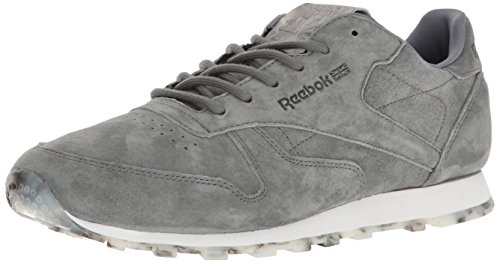Reebok Women's Cl Lthr Shmr Fashion Sneaker, Alloy/White/Pewter, 9.5 M US