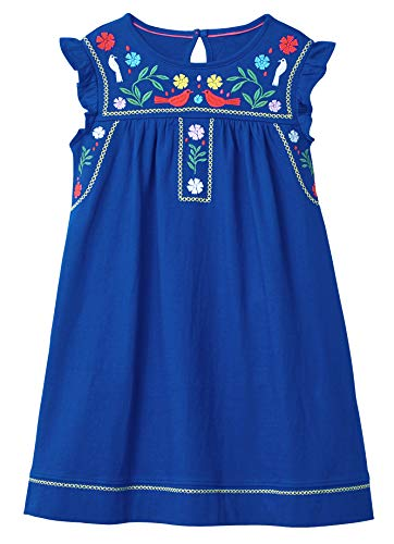 Fiream Toddler Girls Cotton Longsleeve Casual Dresses Applique Cartoon(JP006,7T/7-8YRS) ()