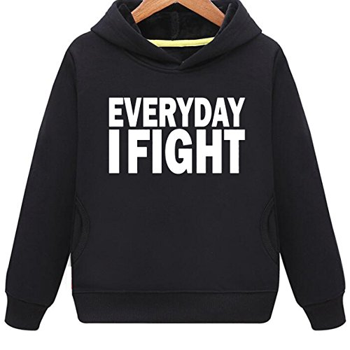 Mustang Kids Everyday I Fight Rousing Hoodie with Side Pockets (B,L)