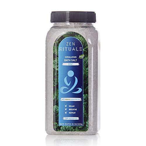 Zen Rituals Himalayan Bath Salt With Organic Essential Oil Mint, 2.2 lbs.