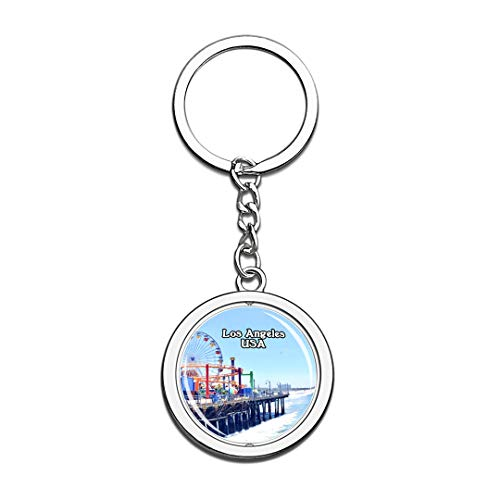 USA United States Keychain Santa Monica State Beach Los Angeles Key Chain 3D Crystal Spinning Round Stainless Steel Keychains Travel City Souvenirs Key Chain Ring -