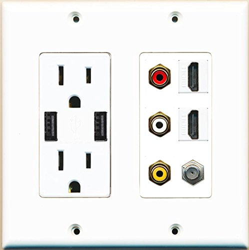 RiteAV 15 Amp 125V Power Outlet (2 Powered USB Charger Receptacle) 2 Hdmi Coax 3 RCA Composite Wall Plate (Powered Hdmi Wall Plate)