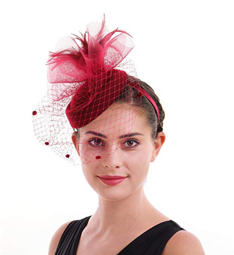 Lucky Leaf Frauen M/ädchen Fascinators Hair Clip Haarnadel H/üte/& Feder Cocktail Hochzeit Tea Party Hat