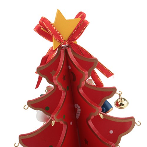 Jili Online New Year Lovely Cartoon Wooden Merry Christmas Tree Decorations Christmas Gifts Ornaments XMAS Table Desk Decor for Home - red by Jili Online (Image #3)
