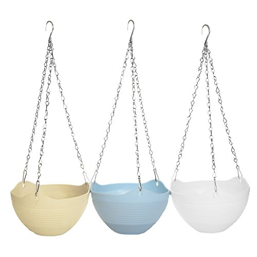 Multi Colored Self-Watering Flower Pot Container, Hanging Planter with Chain, Set of 3 (Hanging Containers Plant)