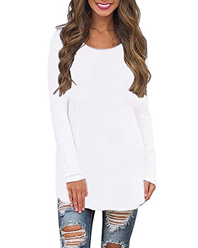 SUNNYME Women's Long Sleeve Shirts Blouses Crew Neck Solid Loose Casual Tunic Tops Sweatshirts White 2XL
