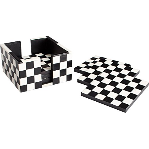 GOOD MEDIA Cyan Design 08005 Check Mate Black and White Coasters by GOOD MEDIA