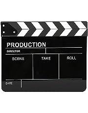 Movie Directors Clapboard, 12x10 inch/30x25 cm Acrylic Plastic Film Clapper Board Cut Action Scene Clapper, Professional Television Photography Props(White)