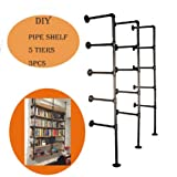 Industrial French Country Style Decorative Pipe Wooden Wall ShelvesRustic DIYCeiling Five-layer Pipe Shelf Wall Vintage Hung Bracket Industrial Shelves (five-layer × 3)