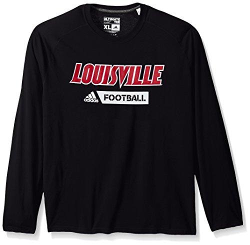 Sideline T-shirt - NCAA Louisville Cardinals Adult Men Sideline Gridiron Ultimate L/S Tee, Medium, Black