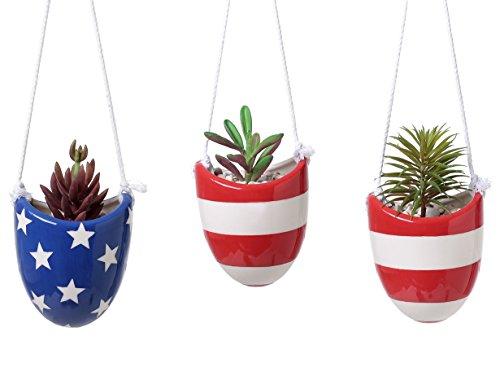 Set of 3 Mini Ceramic Hanging Succulent Planters, Decorative Flower Pots with (Flag Planter)