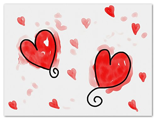 Playful Hearts Blank Note Cards - Valentine's Day Greeting Cards with Envelopes - 5.5