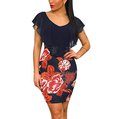 (haoricu Women Dress, 2017 SSexy Women Fashion Summer Slim Tight Cocktai Bodycon Evening Party Dresses (S, Navy b))