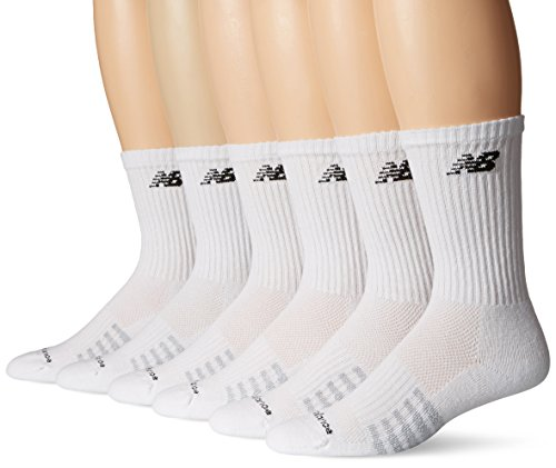 New Balance Men's 6 Pack Core Crew Socks,White,Shoe Size: 9 - 12.5 Men's / 10 - 12 Women's (Large)