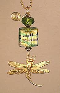 Rear View Mirror Car Accessory / Ornament Amber Faceted Glass & Golden Dragonfly