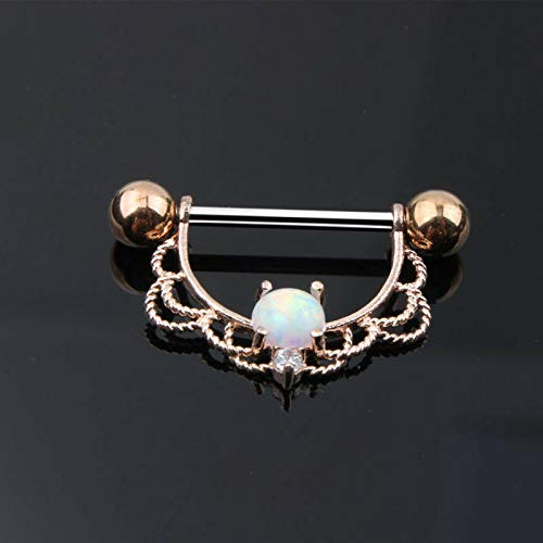 14G Surgical Steel Opal Zircon Centred Drop Nipple Shield Bar Ring Piercing (Colors - Rose Gold + Opal) ()