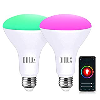 OHLUX Smart WiFi Flood Light Bulb E26 Base 900Lumen (100W Equivalent),10W BR30 LED Bulb Works with Alexa, Google Home, Siri, 2700K-6500K Dimmable, Indoor use (No hub Required ) - 2Pack