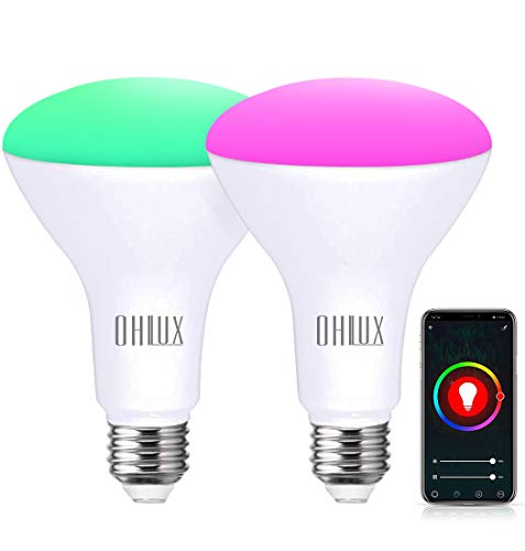 OHLUX Smart WiFi Flood Light Bulb E26 Base 900Lumen (100W Equivalent),10W BR30 LED Bulb Works with Alexa, Google Home, Siri, 2700K-6500K Dimmable, Indoor use (No hub Required) - 2Pack