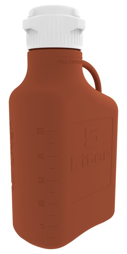 Foxx Life Sciences - 5L (1 Gal) Amber HDPE Carboy with 83mm Cap