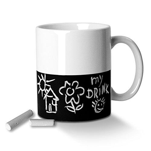 CKB Ltd Chalk Mug - Chalkboard Writable Message Memo Novelty Tea Coffee Mug Porcelain Ceramic With Chalk- Gift Boxed Set