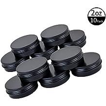 TMO Aluminum Tin Jars 2Oz 60G Screw Top Round Jars Metal Tin Cans Aluminum Tin Containers Bulk Food Tins Cosmetic Jar Container Candle Travel Tins(Black,10 Pack)